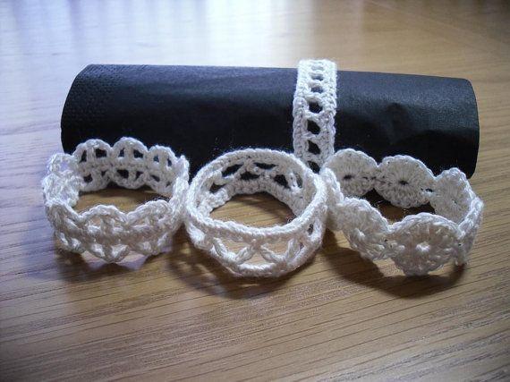 Crochet+Napkin+Rings+Set+of+4+Napkin+by+crochetbypamela+on+Etsy,+£6.00