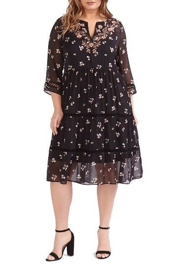 Embroidered Floral A-Line Dress (Plus Size) at Nordstrom.com. Pretty embroidery at the neckline complements the floral print of this über-feminine, ultra-flattering dress with ruffled tiers of sheer chiffon and delicate open-stitch insets.