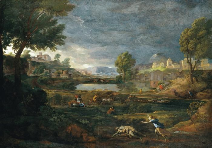 Nicolas Poussin Landscape during a thunderstorm with Pyramus and Thisbe, 1651 - How do you paint a thunderstorm? Leonardo da Vinci, for one, provided pointers on the problem in his Treatise on Painting. The Frenchman Nicolas Poussin, who had studied Leonardo's text closely, put a number of the latter's ideas into practice here.