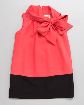 Blossom Hallie Bow-Neck Dress by Milly Minis at Neiman Marcus.