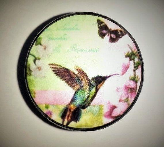 Colorful Hummingbird Dresser Knob - Butterfly, Floral, Flower, Garden, Script, Garden Decor, Bird - Cabinet, Handles, Drawer Pull - 315C11