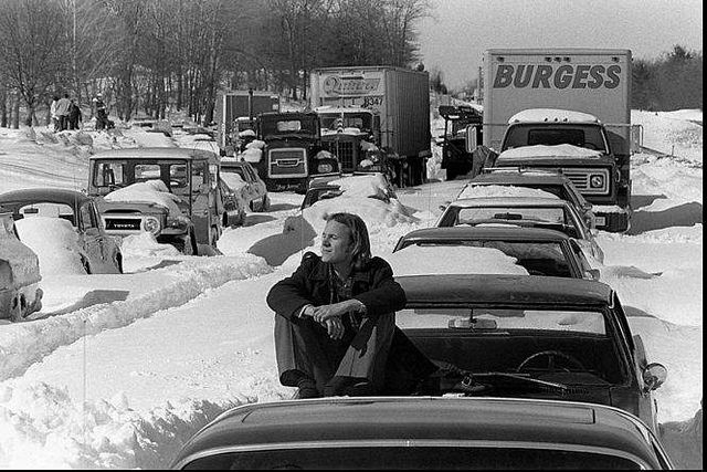 """In 1978 we had a blizzard that brought 35-40 inches of snow in CT and Mass. People just abandoned their cars on the roads. The CT & Mass Governors closed all roads in both states for three days to clear them."""
