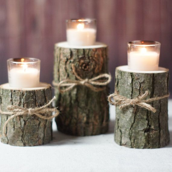 Log Candle Holder Rustic tealight holder Rustic by GFTWoodcraft