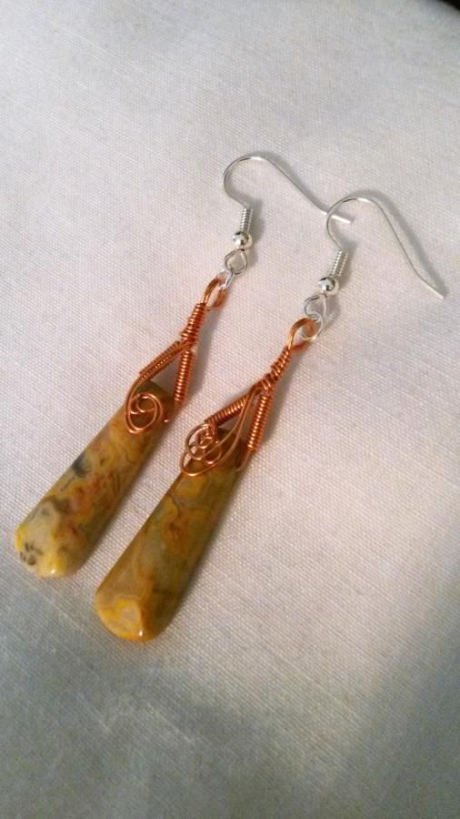 Crazy Lace Agate Copper Earrings by BDBD Bead Designs by Debbie