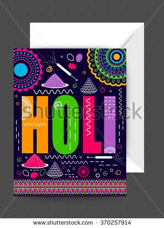 Colourful floral design decorated greeting card with envelope for Indian Festival of Colours, Happy Holi celebration. - stock vector
