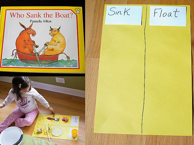 Great little story to introduce the concept of what makes things sink and float!  Followed by a sink or float experiment.