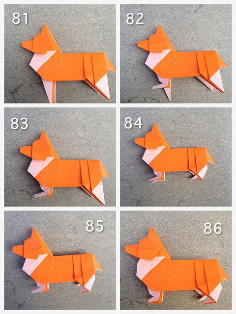 Origami corgi has over 80 folding steps papercraft for Paper folding crafts step by step