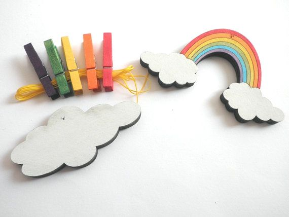 Children's  Artwork display hanger Rainbow and a cloud by Shellyka
