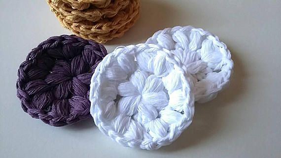 Pack of 7 cotton facial scrubbies//crocheted