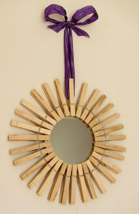 How To Make A Starburst Mirror Using Clothespins To Give As A Motheru0027s Day  Gift  This Would Be Nice For A Laundry Room. Maybe Do It With Picture  Frames As ...