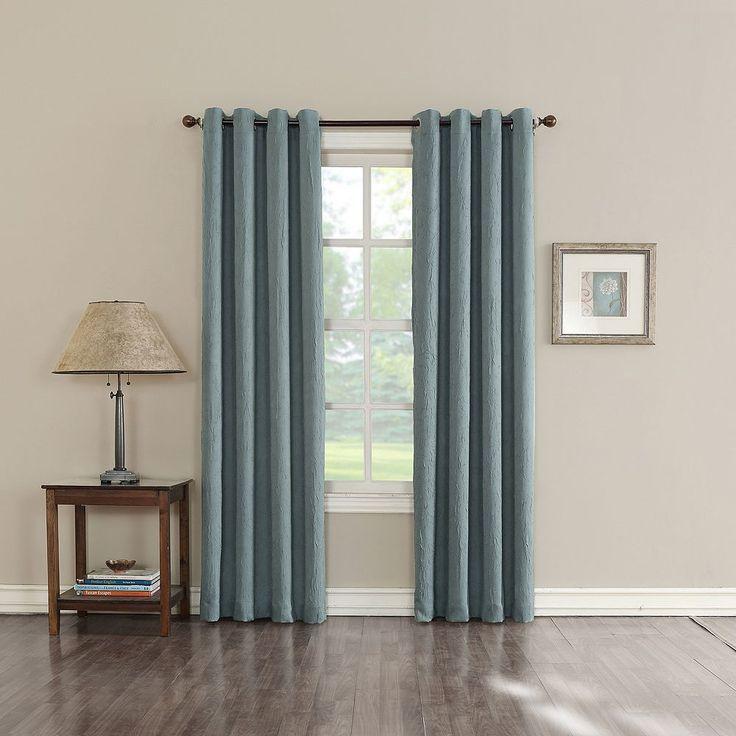 Sun Zero Hanson Room Darkening Curtain, Blue