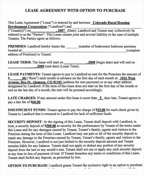 Lease Purchase Agreement Template Lovely Rent To Own Contract Template 8 Free Word Excel Pdf Contract Template Being A Landlord Creative Business Plan Template