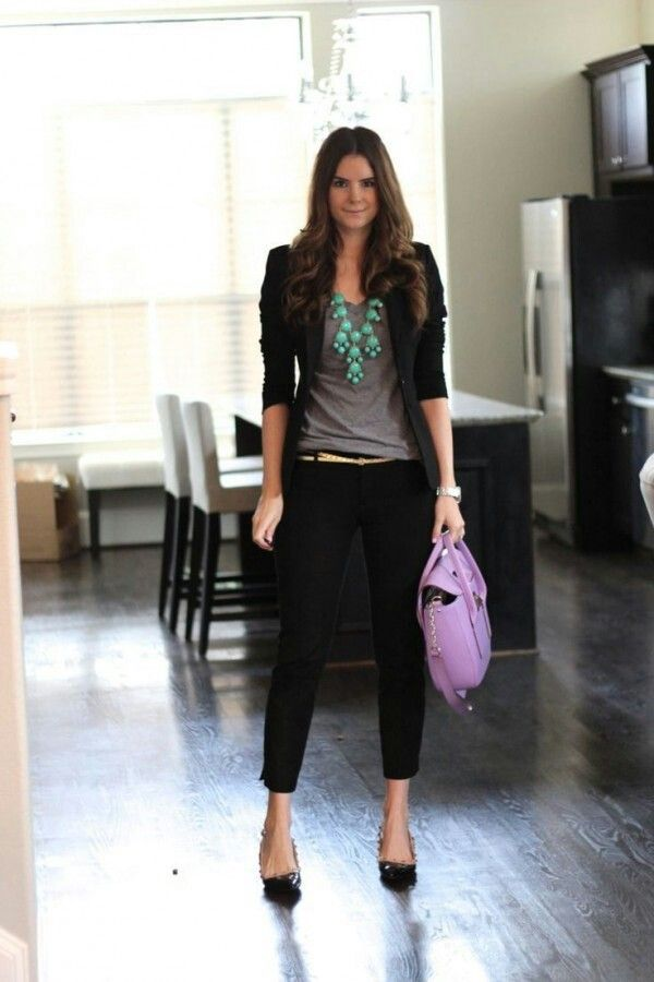 Cute black ankle pants with casual black blazer and teal necklace.