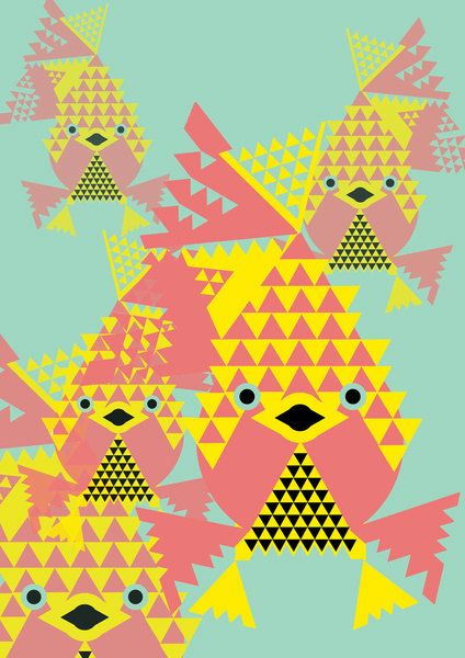 School of Modular Gold Fish Graphic Artwork by GarethPollockArt