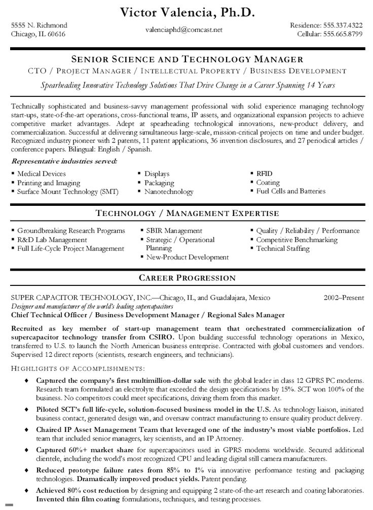 chief technical officer resume