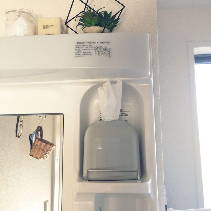 Bathroom/ニトリ/ティッシュケース/洗面台の上/賃貸 洗面所/賃貸アパート...などのインテリア実例 - 2017-12-27 14:38:38