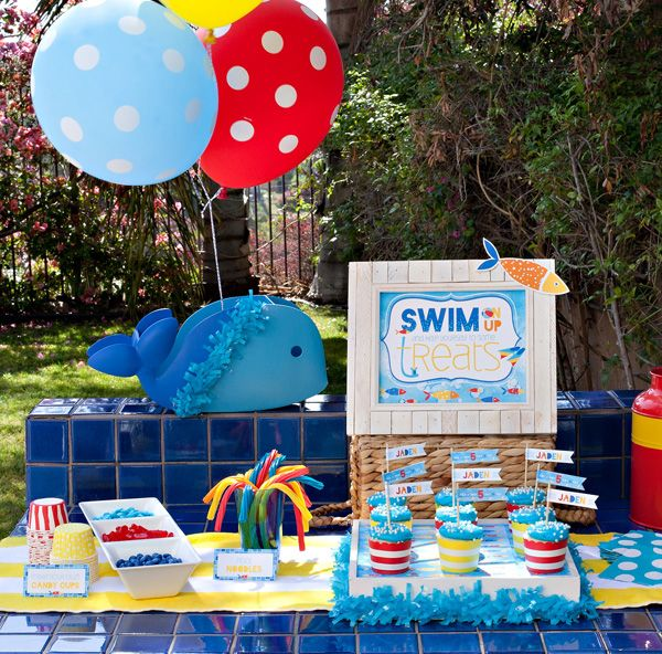back yard beach themed swimming pools | Creative Pool Party {or Playdate} Ideas for Little Swimmers // Hostess ...