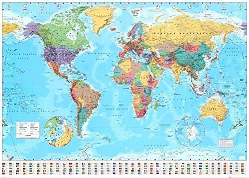 World Map 2015 Giant Poster 55 x 39in