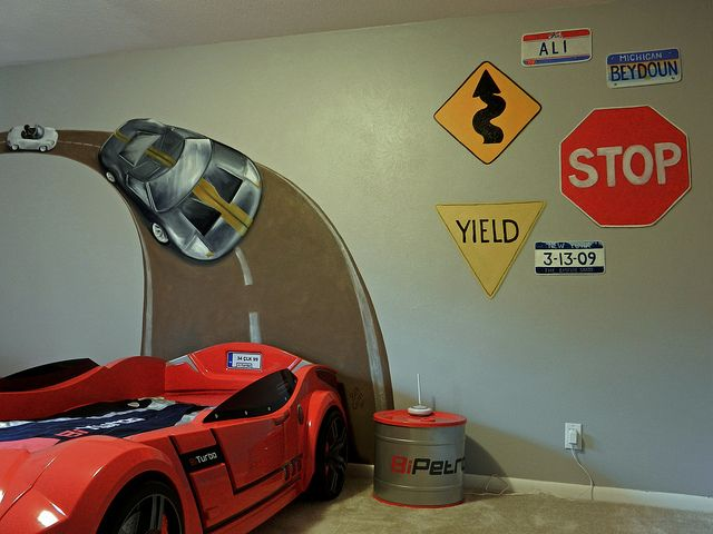 Boys race car bedroom painting...including the signs