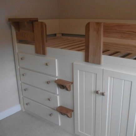 4 Drawer Kids Cabin Bed Cream with Solid Oak Front Rail & Steps