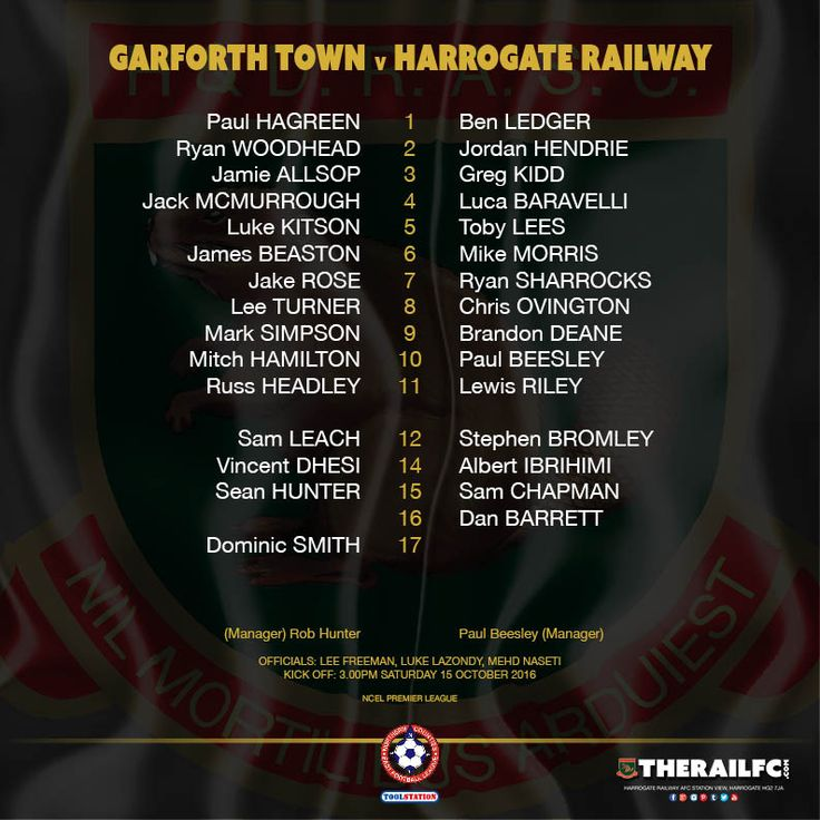 The teams for today's NCEL Premier League game    @therailfc @TheGarforthTown @Howell_rm