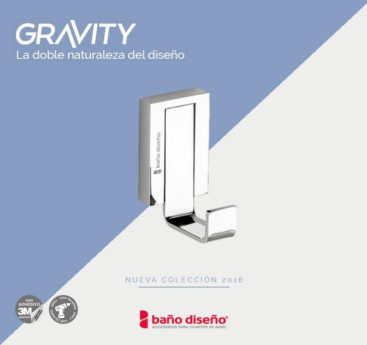 Percha de la nueva #colección de Baño Diseño, Gravity. Una gama de #accesorios de #baño inspirados en el concepto de la #gravedad que está formada por un #diseño donde las formas curvas confluyen con las rectas.