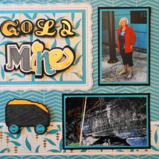 This is a travel scrapbook page idea of a trip to visit a gold mine. I used a treasure chest from Cricut Pirates & Mermaids on this page. To learn how to make this page, just go to my blog at Travel Scrapbook 26 - Whistler & Squamish - Me and My Cricut