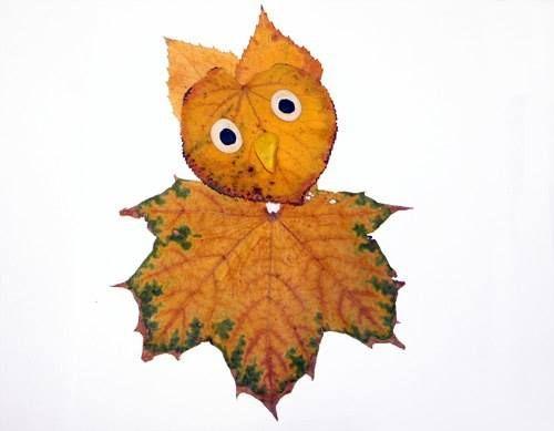 Фантазия из осенних листьев - аппликация на тему природы 9