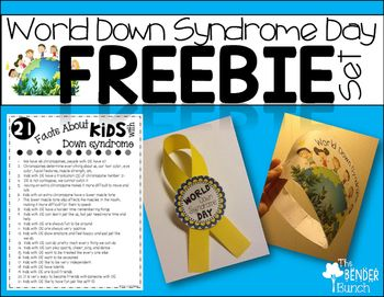 World Down Syndrome Day is March 21st!!! Celebrate it with your students, child, or children for no cost to you and little prep with this freebie set!! Make a hat, wear a ribbon, and learn facts about kids with Down syndrome. Celebrate and spread awareness for these special individuals!