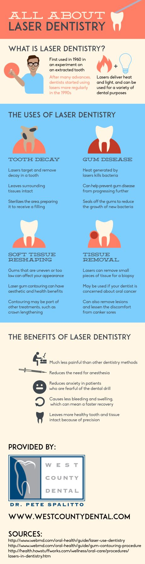 Laser dentistry was first used in 1960 in an experiment on an extracted tooth. Technological advancements resulted in this form of dentistry becoming more popular in the 1990s. Look over this St. Louis oral surgeon infographic for more facts about the history and benefits of laser dentistry.