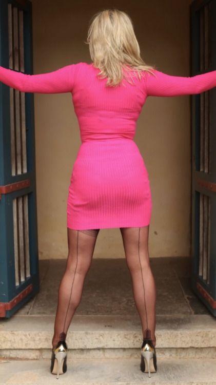 Transvestite shemale pantyhose nylon cock ur 10