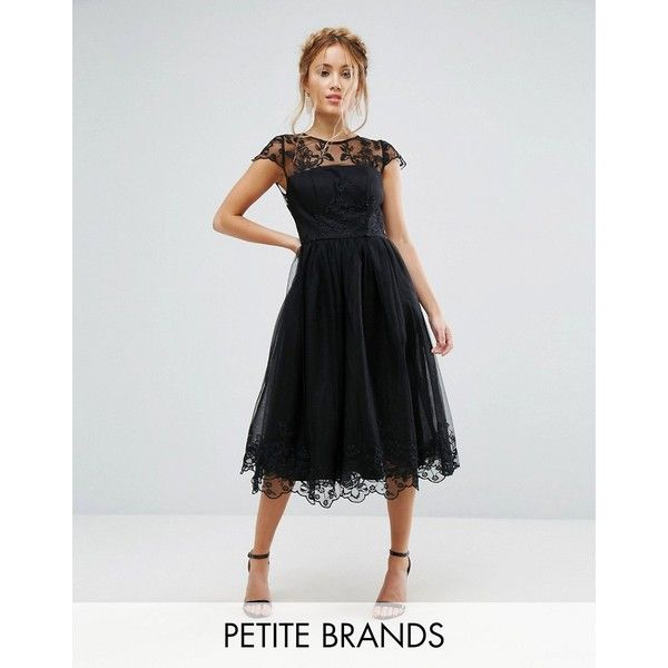 Chi Chi London Petite Premium Lace Midi Prom Dress with Lace Neck (£70) ❤ liked on Polyvore featuring dresses, black, petite, lace bridesmaid dresses, lace cocktail dress, petite cocktail dress, see through dress and midi dress
