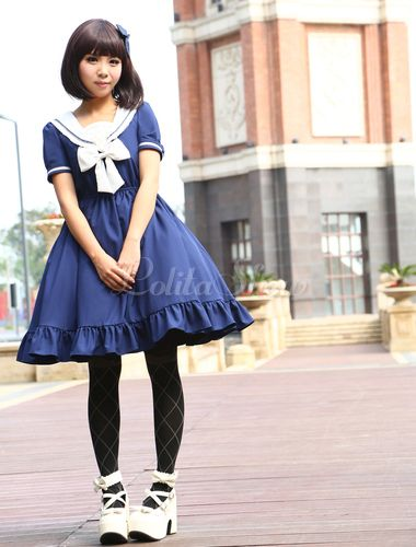 Navy Chiffon Short Sleeves Sailor Collar Ruffles Lolita Dress - Lolitashow.com