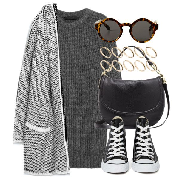 A fashion look from September 2014 featuring Cédric Charlier dresses, Zara cardigans and Converse sneakers. Browse and shop related looks.