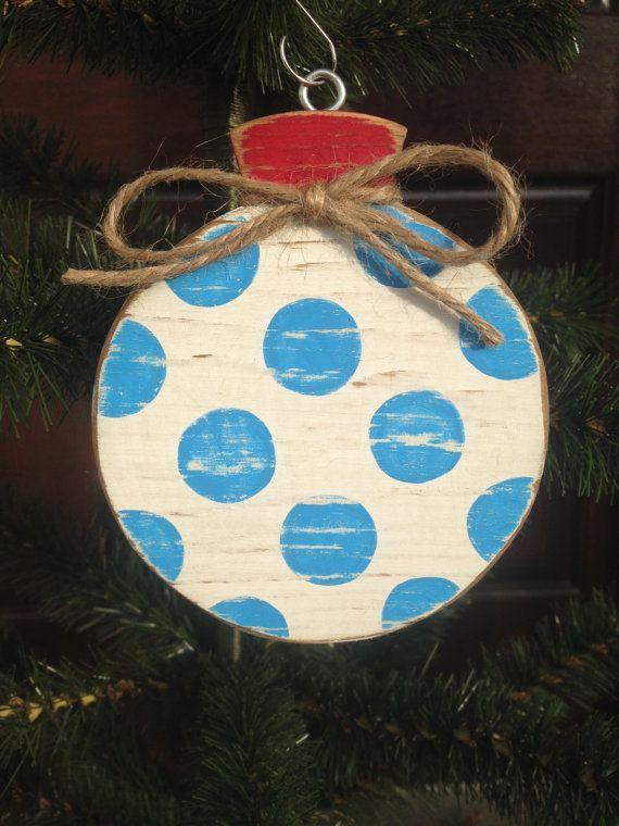 Polka Dot Wood Ornament by CelebrateOrnaments on Etsy, $12.00