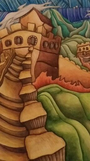Closeup Of The Great Wall China Page Magical City Adult Coloring Book Colored By Dayna Brown With Inktense Pencils Activated A Waterbrush