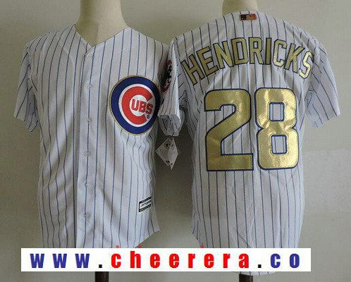 Men's Chicago Cubs #28 Kyle Hendricks White World Series Champions Gold Stitched MLB Majestic 2017 Cool Base Jersey