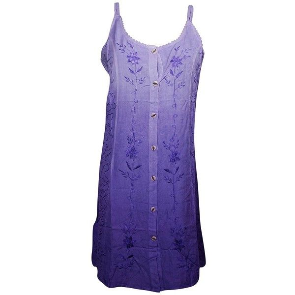 Mogul Womens Sundress Embroidered Button Front Bohemian Hippie Tank... ($16) ❤ liked on Polyvore featuring dresses, purple sundress, embroidered dress, sundress dresses, purple shift dress and sun dresses