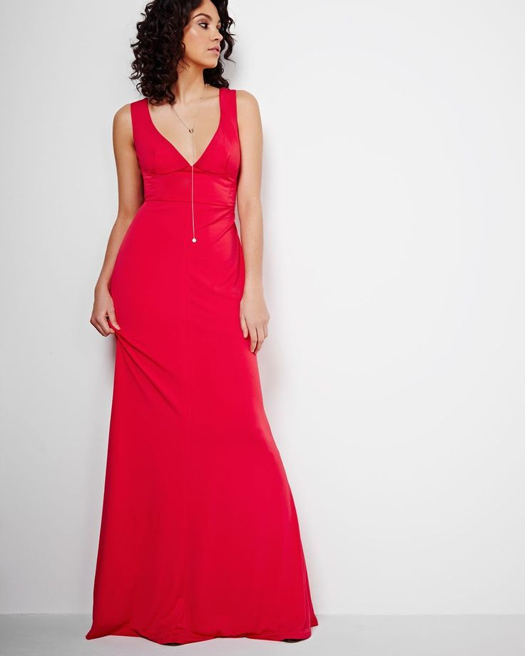 This long gown by contemporary American brand ABS boasts clean lines and feminine appeal. Featuring a sexy deep v-neckline that will definitely make you stand out! Style it with trendy, elegant accessories for a sophisticated look.<br /><br />- Deep front and back v-neck<br />- Sleeveless<br />- Fitted<br />- Fully lined<br />- Stretch fabric that contour the body<br />- Invisible back zipper with hook and eye<br...