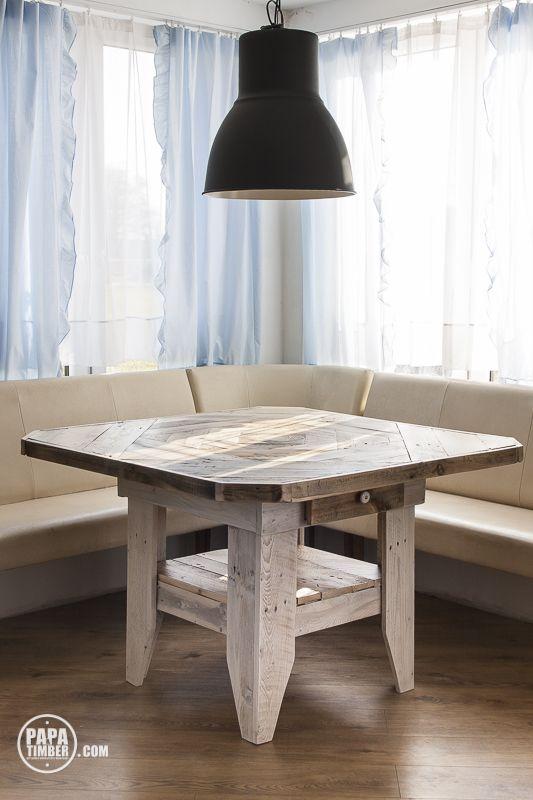 Table made using 100% reclaimed wood from pallets. We call this furniture fisherman. Stół drewniany wykonany w 100% z odzyskanych materiałów, głównie z palet. Mebel nazwany przez nas Fisherman.