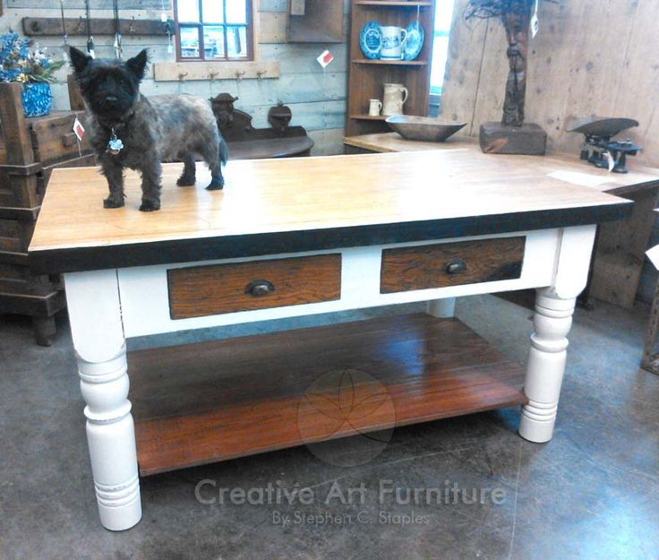 #Creative #Art #Furniture IS 46 LARGE KITCHEN ISLAND The Top Of This  Kitchen Island Was Originally A Bowling Alley Floor. It Is Made Up From  Southern Yellow ...