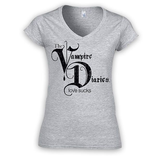 Camiseta chica Logo The Vampire Diaries Love Sucks Camiseta para chica con la imagen del logo de la serie de Tv The Vampire Diaries.