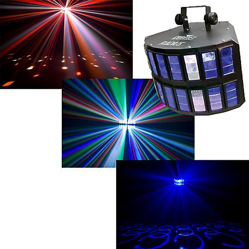 With its wide 155° coverage, the Chauvet Radius LED Effect Light fills a room with single or multicolored shafts and overlapping rings of light with a combination of 3W red, green, blue, amber and white LEDs. A variable-speed motor controls back-and-forth motion, washing an entire club or dance floor with color. Built-in sound activated and automated programs can be regulated with or without DMX control. Electronic strobe is offered in any color combination.5-channel DMX-512 effect…