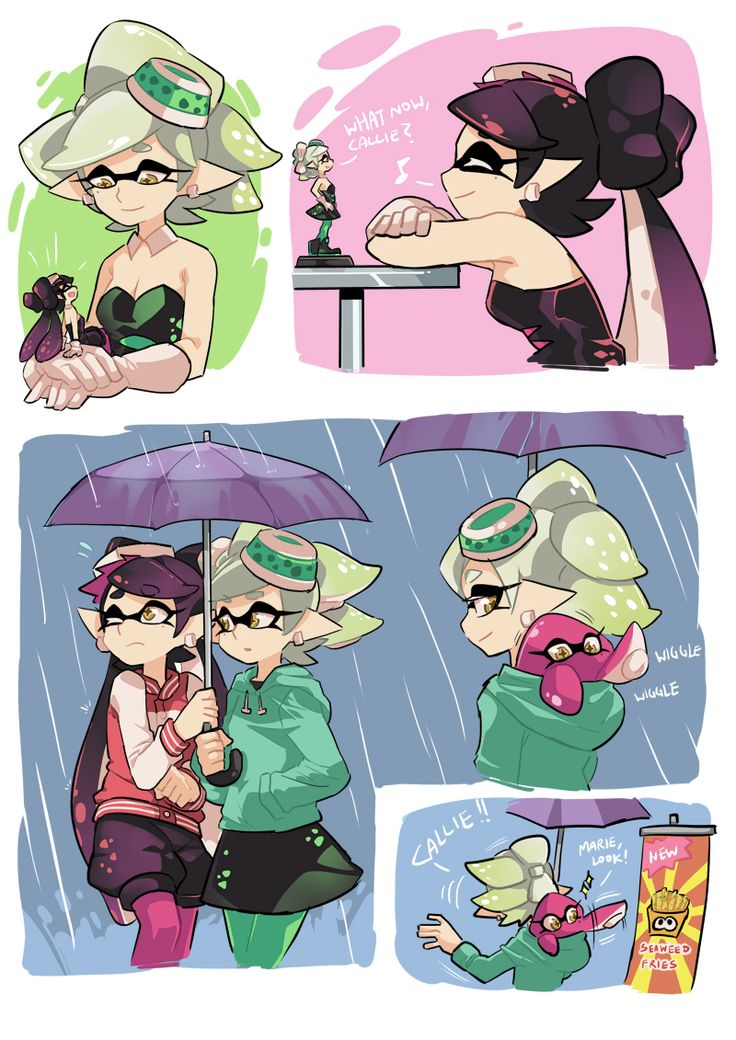 """gomigomipomi: """" In reference to Marie's amiibo when she says 'What now, Cal-' upon activation. """""""
