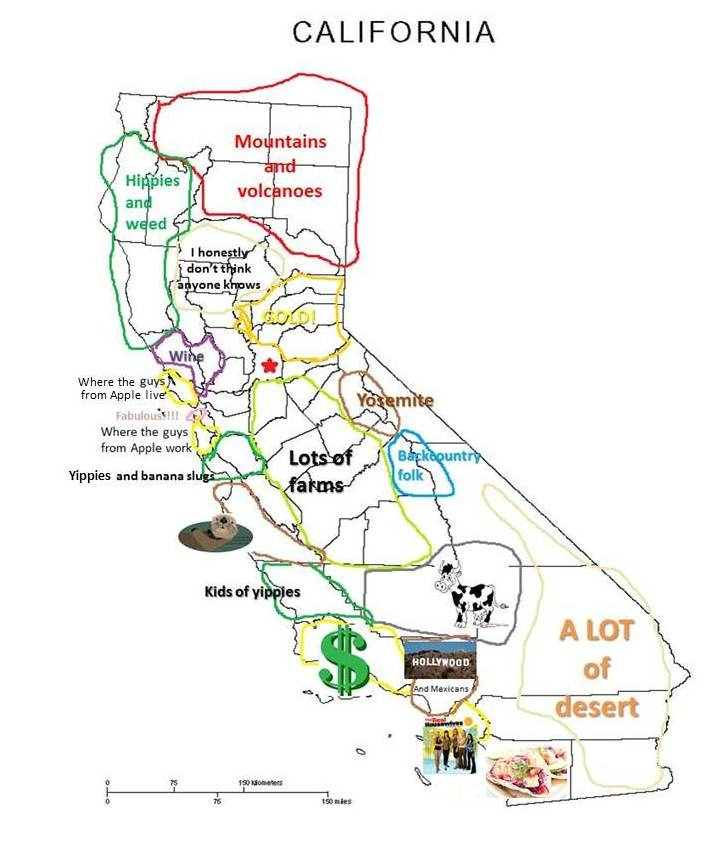 Hella Awesome Map of California Funny map fun Pinterest