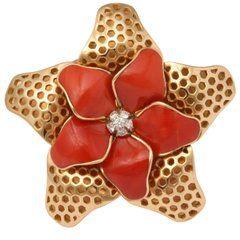 80. léta Coral Diamond Starfish Ring