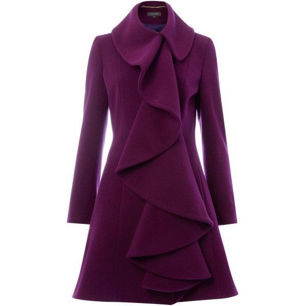 Pied A Terre Purple Ruffle Front Coat | Fashion ❤ liked on Polyvore featuring outerwear, coats, jackets, dresses, pied a terre, ruffle front coat and purple coat