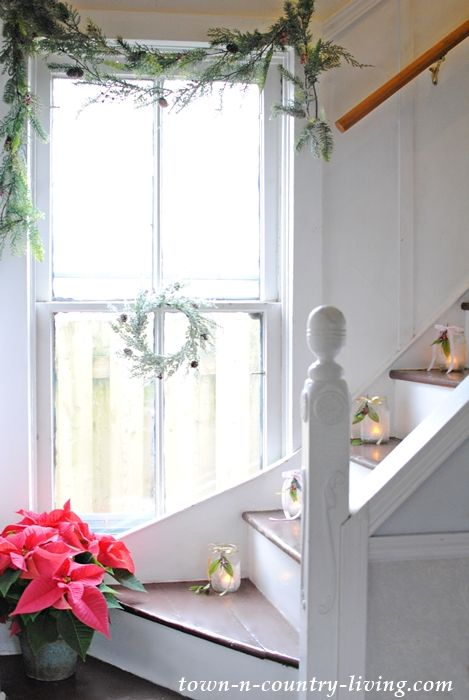 Christmas Stairway in a Victorian Farmhouse