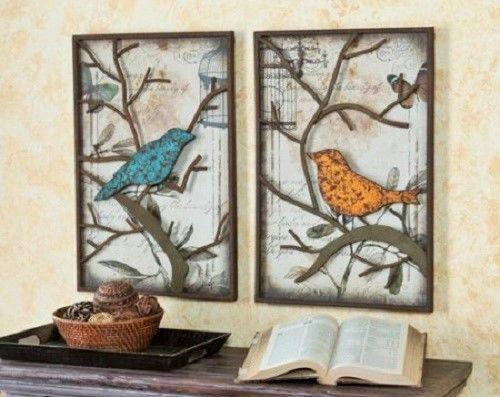 Metal Wall Panel Set Art Decor Love Birds Wedding Gift Rustic Sculpture House  #MetalWallPanelSet
