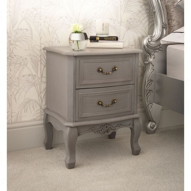 Etienne 2 Drawer Antique French Style Bedside Table French Style